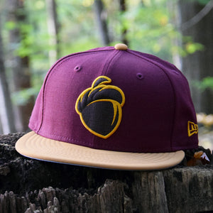 Acorn - Maroon & Panama Tan Faux Nubuck New Era 59Fifty Hat - Front