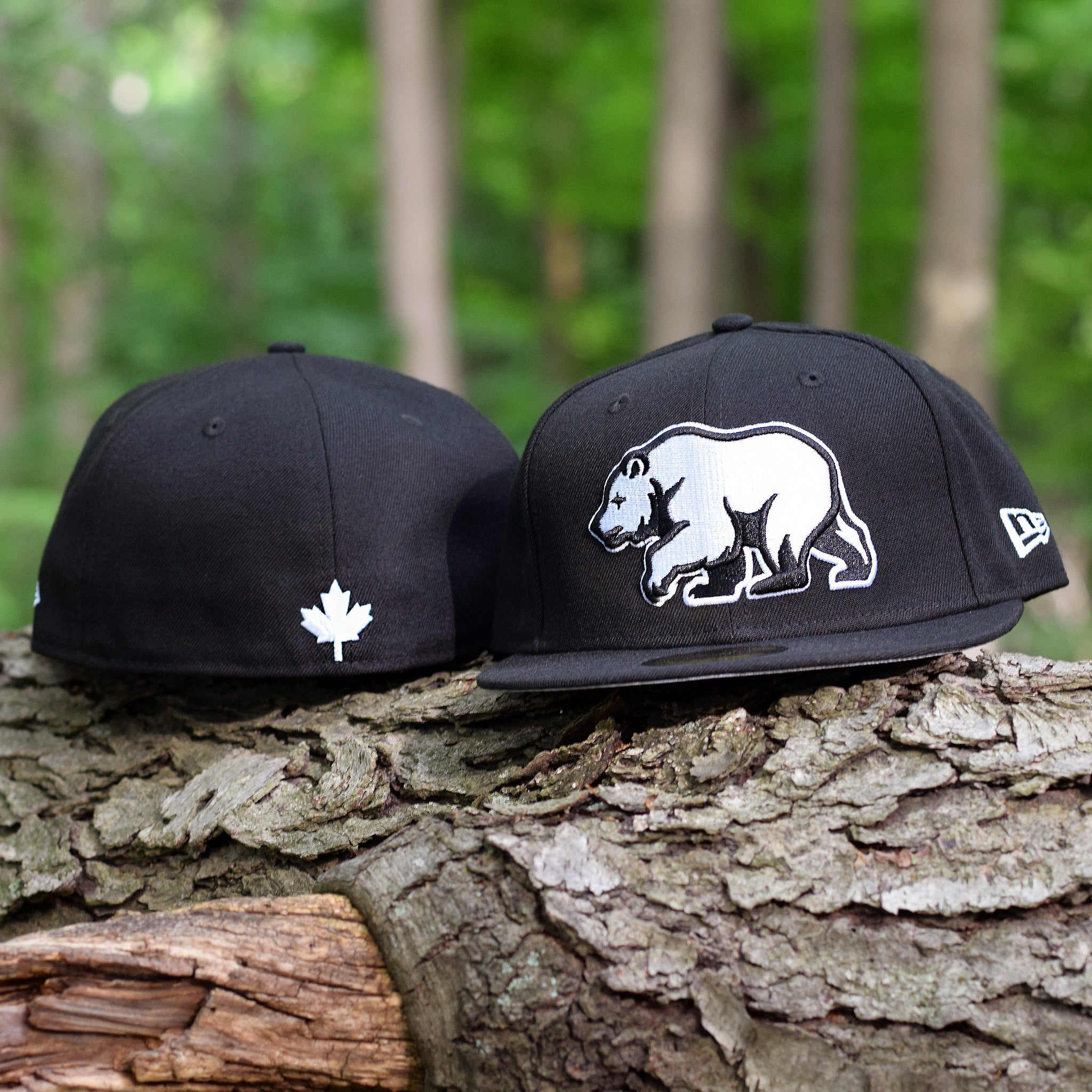ccc362b0374 ... Noble North Co. - Bear Explorer - Black New Era 59Fifty Hat - Front