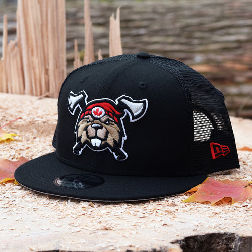 Noble North - Beaverjax Double Axes - Black 9Fifty Mesh Snapback - Front