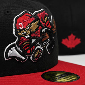 Beaverjax - Black & Red New Era 59Fifty - Close Up