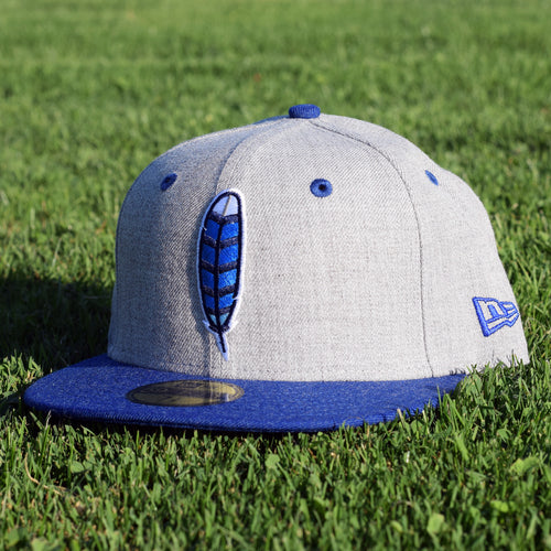 Noble North Co. - Blue Jay Feather - Grey & Royal Blue Heather New Era 59Fifty Hat - Front