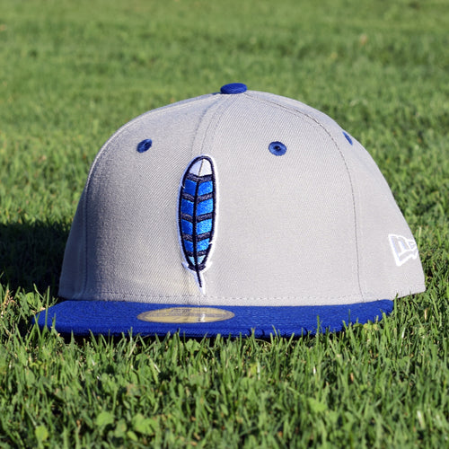 Noble North Co. - Blue Jay Feather - Grey & Royal Blue New Era 59Fifty Hat - Front