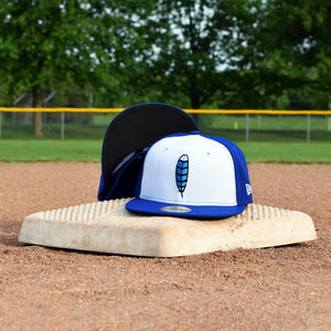 Blue Jay Feather - Royal Blue New Era 59Fifty Hat - Front & Undervisor