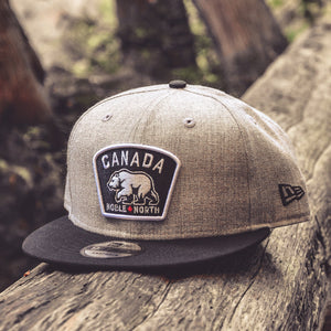 Noble North - Canada Badge - Grey Heather & Black New Era 9Fifty Snapback - Front