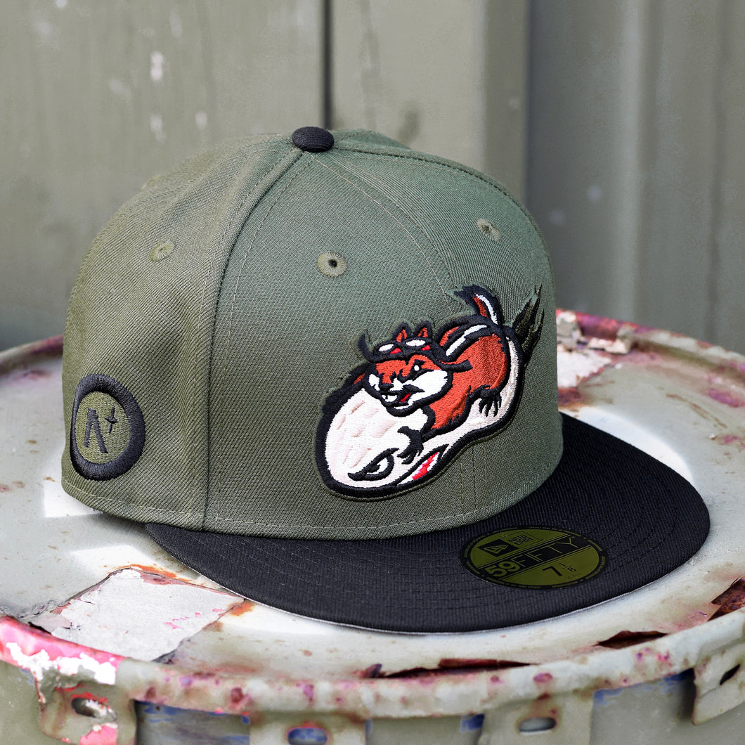 Chipmunk - Olive & Black New Era 59Fifty - Right Side