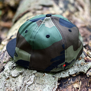 Peanut Squadron - Woodland Camo & Black New Era 59Fifty - Back