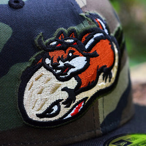Peanut Squadron - Woodland Camo & Black New Era 59Fifty - Close Up