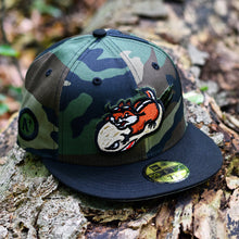 Load image into Gallery viewer, Peanut Squadron - Woodland Camo & Black New Era 59Fifty - Front