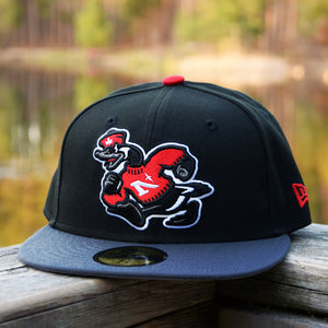Goose Mascot - Black & Graphite New Era 59Fifty Hat - Front
