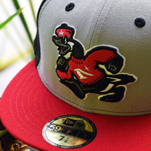 Load image into Gallery viewer, Goose Mascot - Black, Grey, Red New Era 59Fifty - Close Up