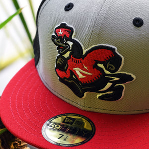 Goose Mascot - Black, Grey, Red New Era 59Fifty - Close Up