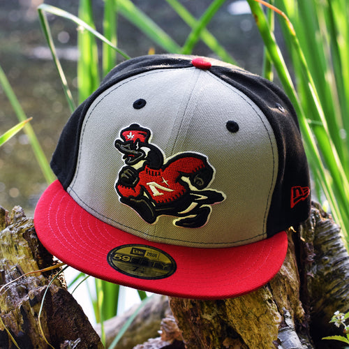 Goose Mascot - Black, Grey, Red New Era 59Fifty - Front