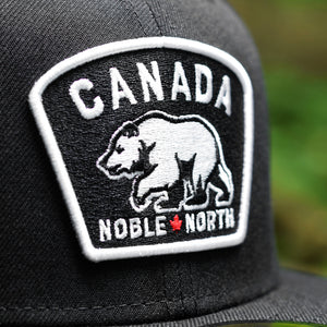 Noble North - White & Red Canada Badge - Black New Era 59Fifty - Close Up
