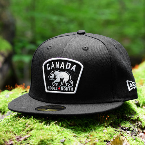 Noble North - White & Red Canada Badge - Black New Era 59Fifty - Front
