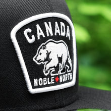Load image into Gallery viewer, Noble North - White Canada Badge - Black New Era 9Fifty Snapback - Close Up