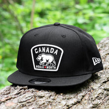 Load image into Gallery viewer, Noble North - White Canada Badge - Black New Era 9Fifty Snapback - Front