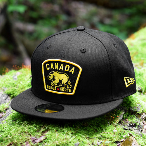 Noble North - Yellow & Red Canada Badge - Black New Era 59Fifty - Front