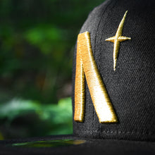 Load image into Gallery viewer, North Star - Black Metallic Gold New Era 59Fifty - Close Up