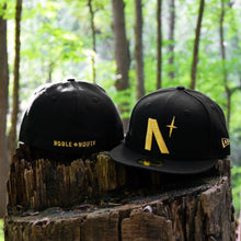 Load image into Gallery viewer, North Star - Black Metallic Gold New Era 59Fifty - Front & Back
