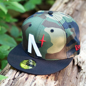 North Star - Camo, Black & Red New Era 59Fifty Hat - Front