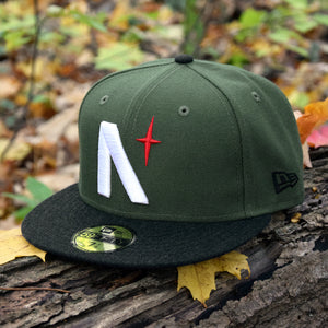 Noble North - North Star - Olive Green & Black Heather 59Fifty - Front