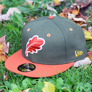 Oak Leaf - Olive Green & Rust Orange New Era 59Fifty Hat - Front