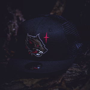 Noble North - Wolf - Black New Era 9Fifty Mesh Snapback - Front