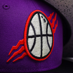 Noble North - Dino Egg - Purple & Black New Era 59Fifty - Close Up