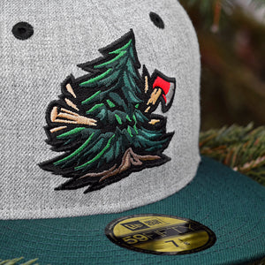 Noble Pines - Grey Heather & Dark Green New Era 59Fifty - Close Up