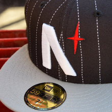 Load image into Gallery viewer, Noble North - North Star - Black Pinstripe & Grey New Era 59Fifty - Close Up