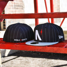 Load image into Gallery viewer, Noble North - North Star - Black Pinstripe & Grey New Era 59Fifty - Front & Back