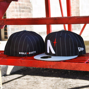 Noble North - North Star - Black Pinstripe & Grey New Era 59Fifty - Front & Back