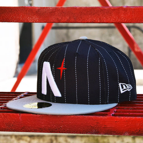 Noble North - North Star - Black Pinstripe & Grey New Era 59Fifty - Front