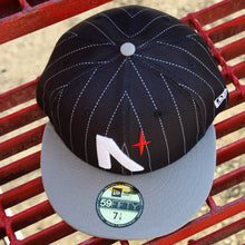 Load image into Gallery viewer, Noble North - North Star - Black Pinstripe & Grey New Era 59Fifty - Top