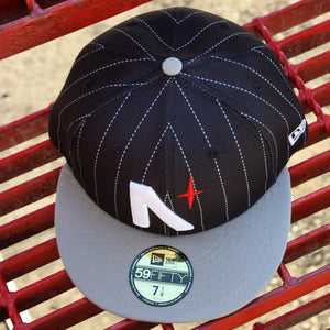 Noble North - North Star - Black Pinstripe & Grey New Era 59Fifty - Top