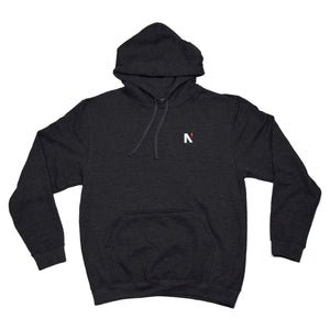 Noble North - North Star Chest Charcoal Heather Hoodie - Front
