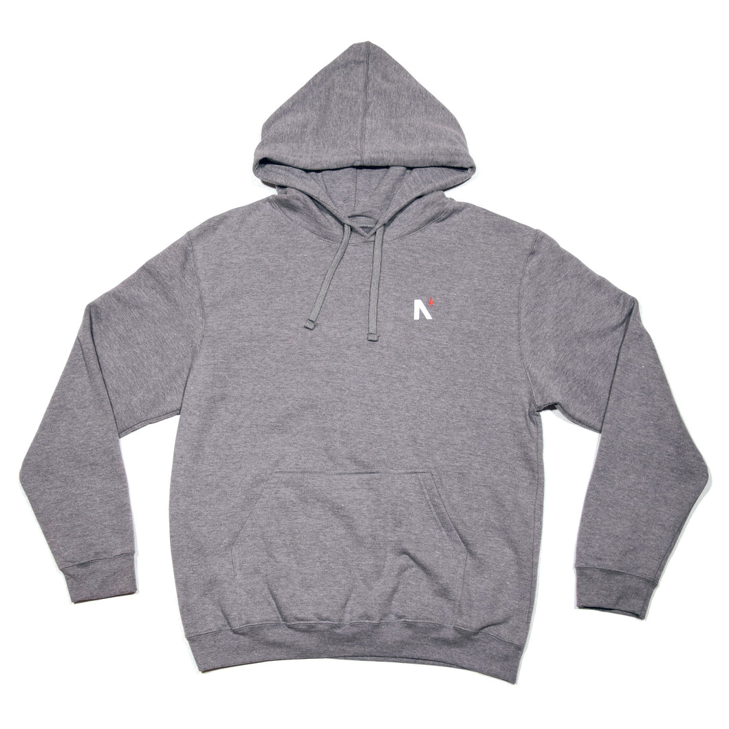 Noble North - North Star Chest Grey Heather Hoodie - Front