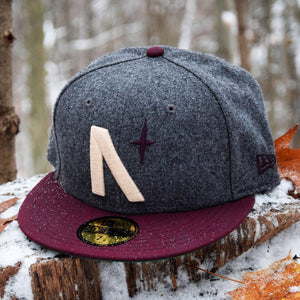 North Star - Grey Melton Wool & Maroon New Era 59Fifty - Front