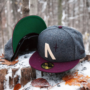 North Star - Grey Melton Wool & Maroon New Era 59Fifty - Front & Undervisor