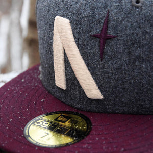 North Star - Grey Melton Wool & Maroon New Era 59Fifty - Close Up