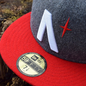 Noble North - North Star - Grey & Red Melton Wool New Era 59Fifty - Close Up