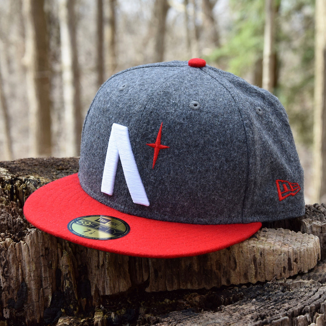Noble North - North Star - Grey & Red Melton Wool New Era 59Fifty - Front