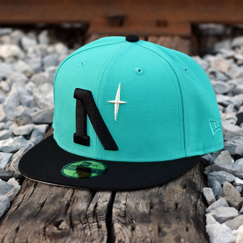 North Star - Heritage - Teal & Black New Era 59Fifty - Front