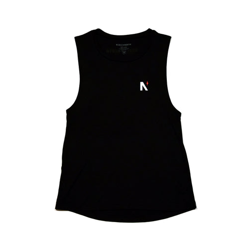 North Star - Left Chest - Ladies Black Scoop Tank - Front