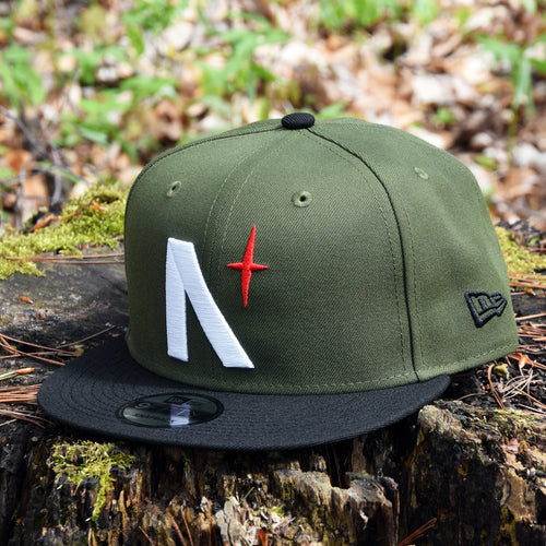 North Star - Olive & Black New Era 9Fifty Snapback - Front