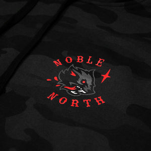 Wolf - Black Camo Hoodie (Unisex) - Close Up