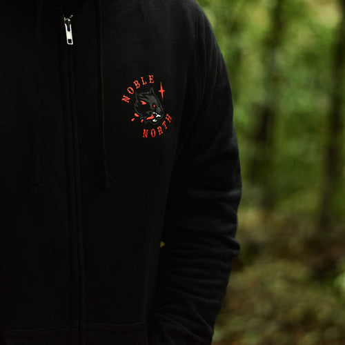 Noble North - Wolf - Black Zip Up Hoodie (Unisex) - Front