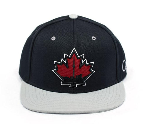Toronto Skyline Maple Leaf - Black / Grey - Snapback Hat