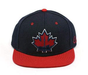 Toronto Skyline Maple Leaf - Navy / Red - Snapback Hat