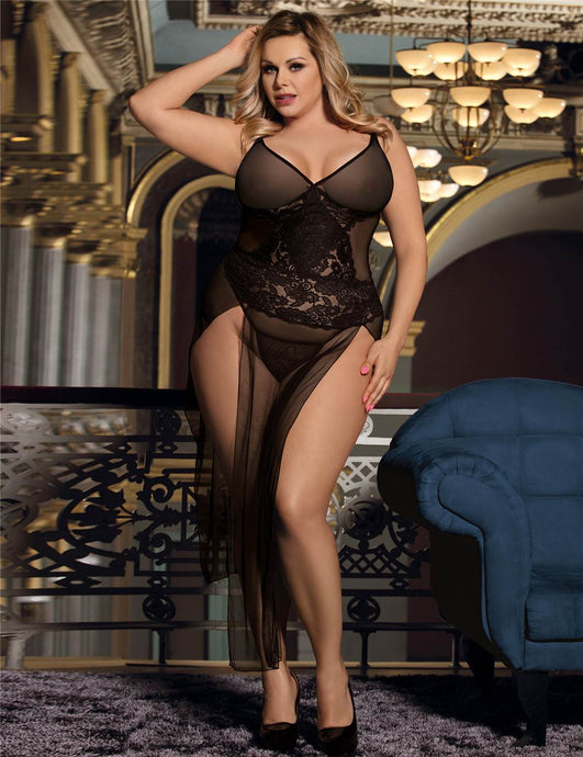 R80441 long black gown plus size front image saucy hq